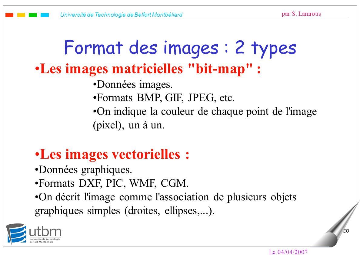 Université de Technologie de Belfort Montbéliard par S. Lamrous Le 04/04/2007 20 Format des images : 2 types Les images matricielles