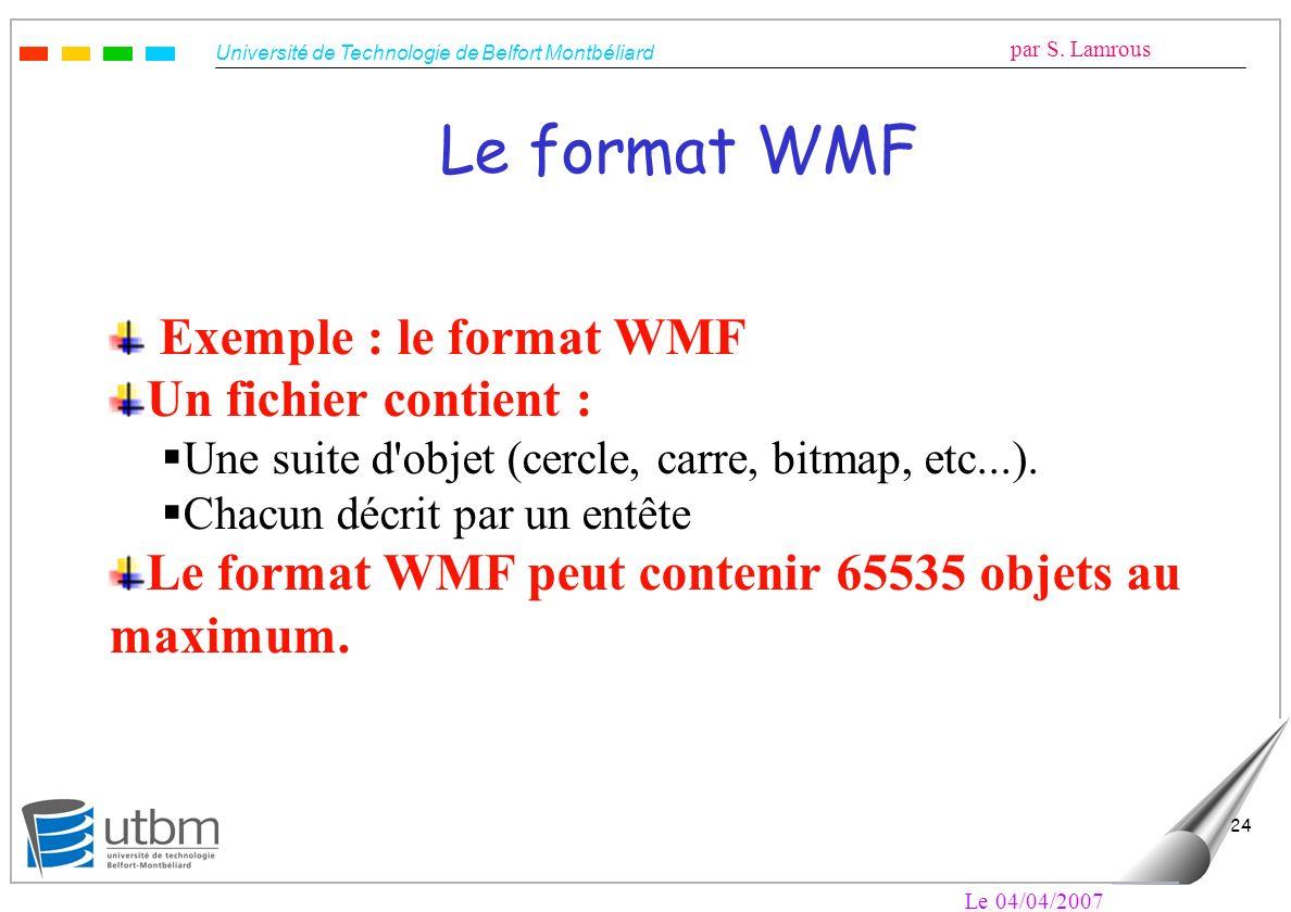 Université de Technologie de Belfort Montbéliard par S. Lamrous Le 04/04/2007 24 Le format WMF Exemple : le format WMF Un fichier contient : Une suite