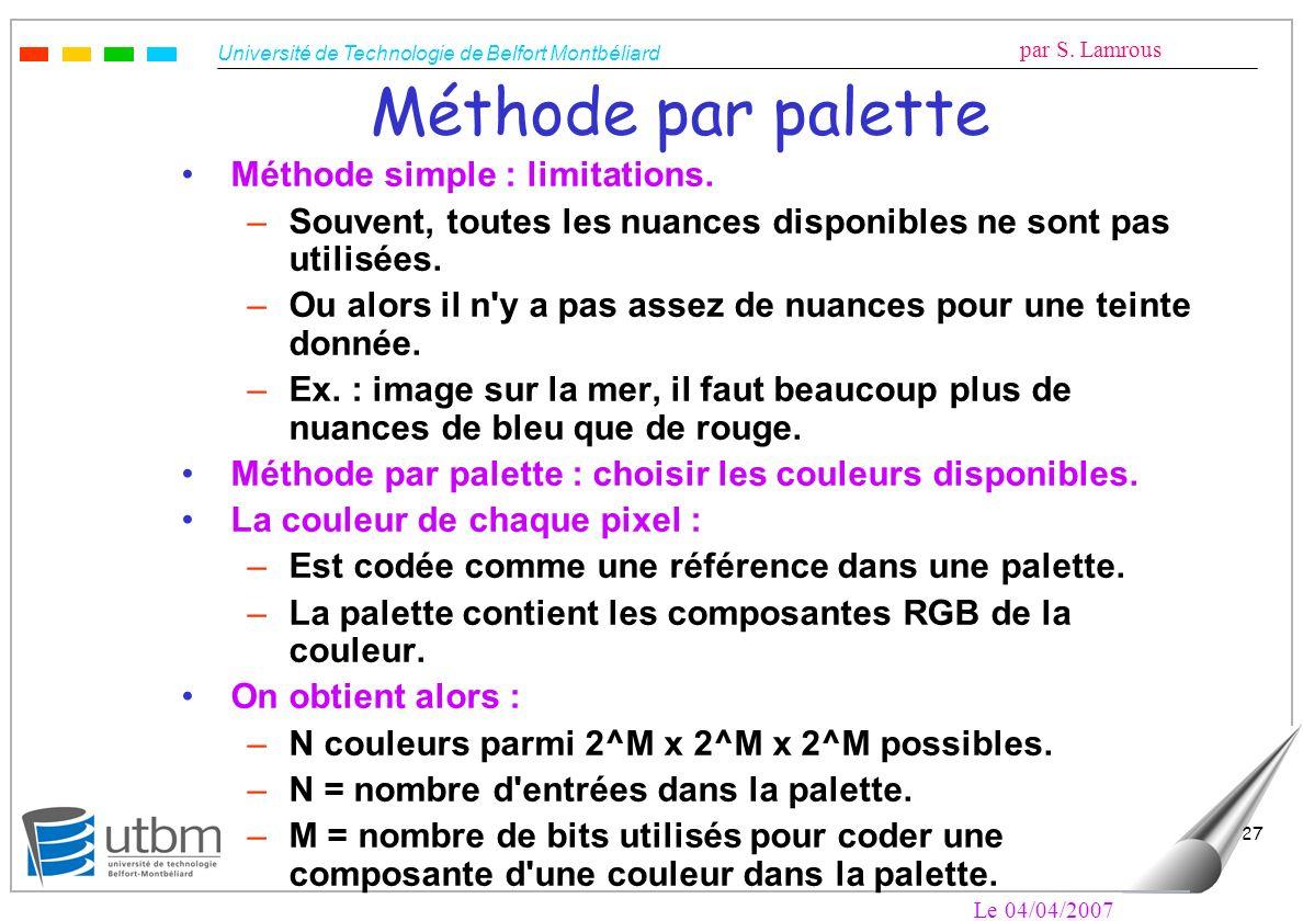 Université de Technologie de Belfort Montbéliard par S. Lamrous Le 04/04/2007 27 Méthode par palette Méthode simple : limitations. –Souvent, toutes le