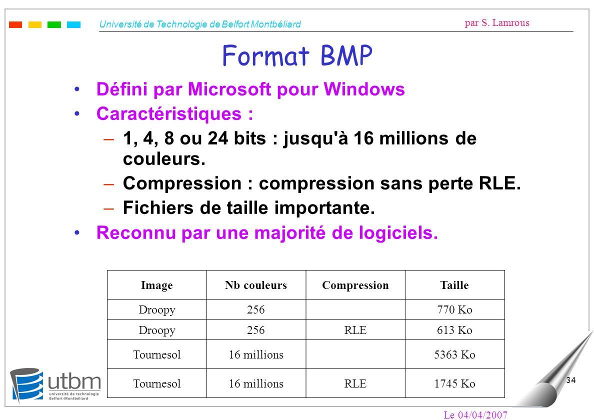 Université de Technologie de Belfort Montbéliard par S. Lamrous Le 04/04/2007 34 Format BMP Défini par Microsoft pour Windows Caractéristiques : –1, 4