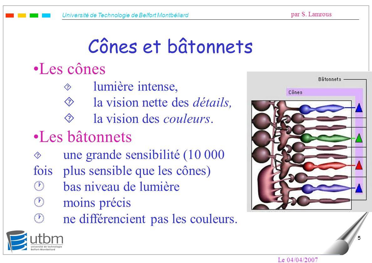 Université de Technologie de Belfort Montbéliard par S. Lamrous Le 04/04/2007 5 Cônes et bâtonnets Les cônes ´ lumière intense, ´la vision nette des d