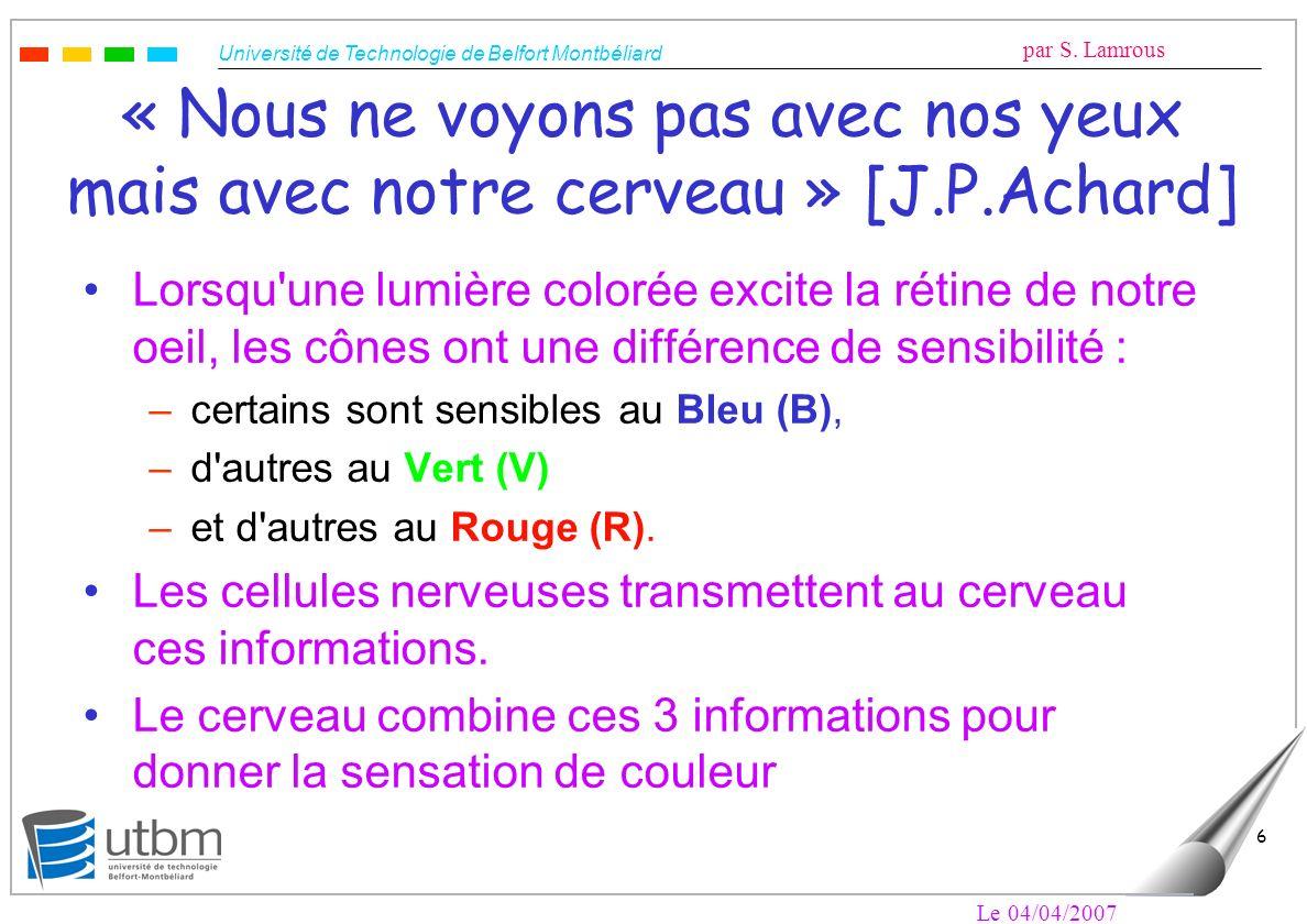 Université de Technologie de Belfort Montbéliard par S. Lamrous Le 04/04/2007 6 « Nous ne voyons pas avec nos yeux mais avec notre cerveau » [J.P.Acha