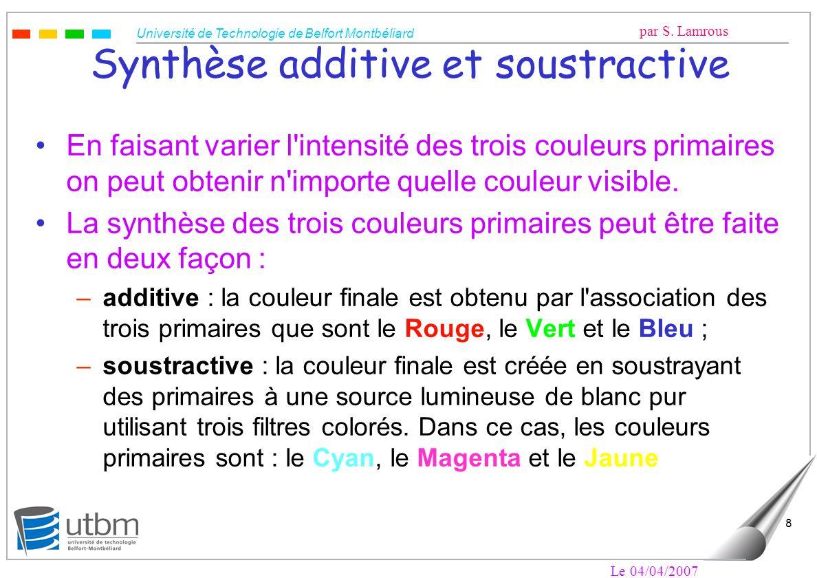 Université de Technologie de Belfort Montbéliard par S. Lamrous Le 04/04/2007 8 Synthèse additive et soustractive En faisant varier l'intensité des tr