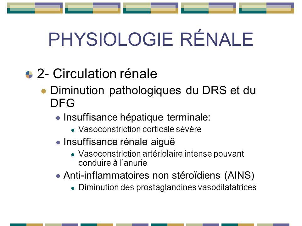 PHYSIOLOGIE RÉNALE 2- Circulation rénale Diminution pathologiques du DRS et du DFG Insuffisance hépatique terminale: Vasoconstriction corticale sévère Insuffisance rénale aiguë Vasoconstriction artériolaire intense pouvant conduire à lanurie Anti-inflammatoires non stéroïdiens (AINS) Diminution des prostaglandines vasodilatatrices
