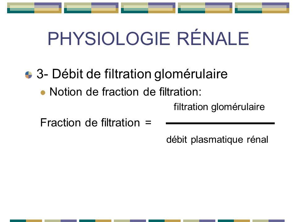 PHYSIOLOGIE RÉNALE 3- Débit de filtration glomérulaire Notion de fraction de filtration: filtration glomérulaire Fraction de filtration = débit plasmatique rénal