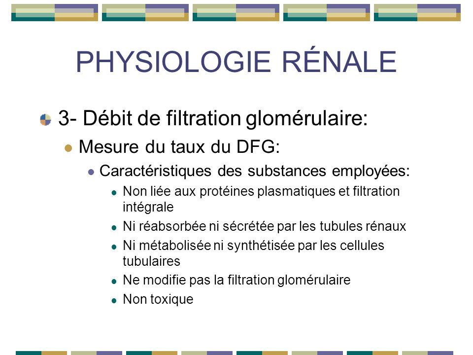 PHYSIOLOGIE RÉNALE 3- Débit de filtration glomérulaire: Mesure du taux du DFG: Caractéristiques des substances employées: Non liée aux protéines plasmatiques et filtration intégrale Ni réabsorbée ni sécrétée par les tubules rénaux Ni métabolisée ni synthétisée par les cellules tubulaires Ne modifie pas la filtration glomérulaire Non toxique