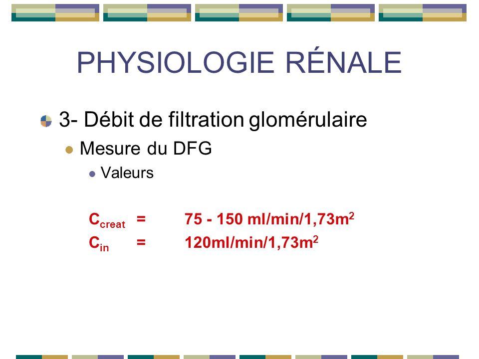 PHYSIOLOGIE RÉNALE 3- Débit de filtration glomérulaire Mesure du DFG Valeurs C creat =75 - 150 ml/min/1,73m 2 C in =120ml/min/1,73m 2