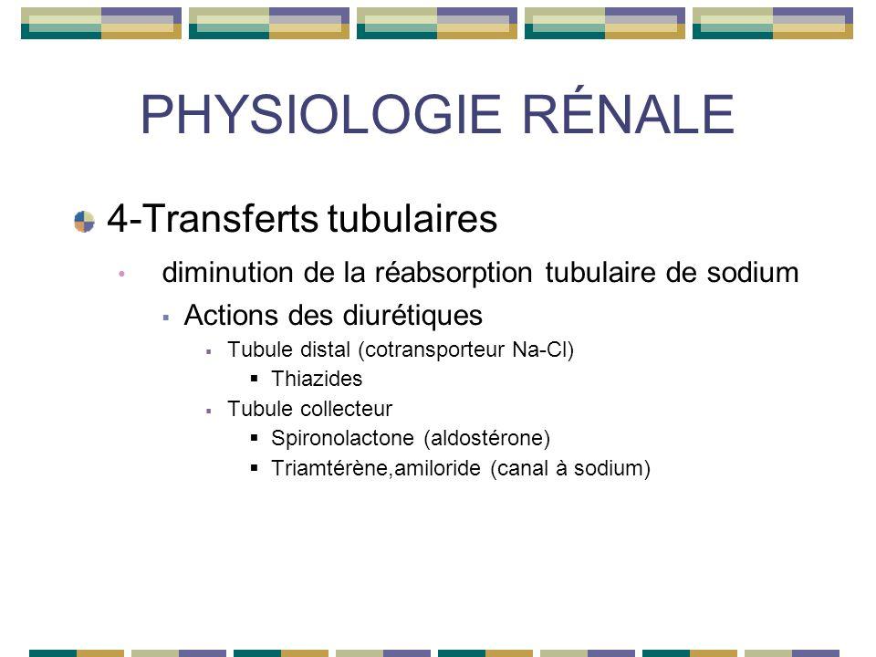 PHYSIOLOGIE RÉNALE 4-Transferts tubulaires diminution de la réabsorption tubulaire de sodium Actions des diurétiques Tubule distal (cotransporteur Na-Cl) Thiazides Tubule collecteur Spironolactone (aldostérone) Triamtérène,amiloride (canal à sodium)