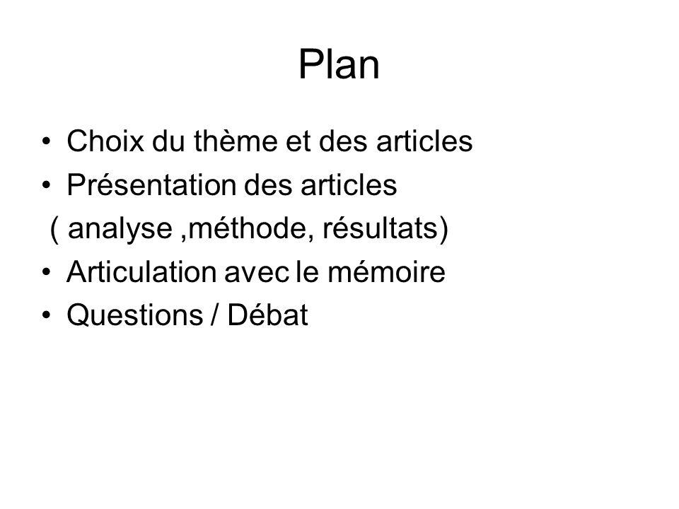 Plan Choix du thème et des articles Présentation des articles ( analyse,méthode, résultats) Articulation avec le mémoire Questions / Débat