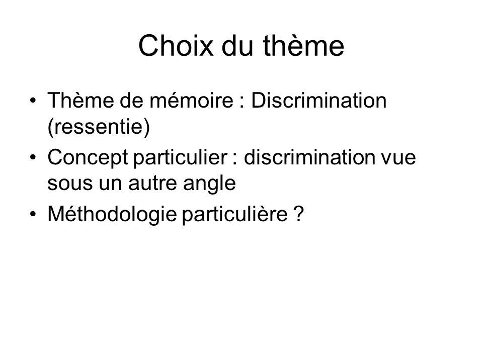 Choix du thème Thème de mémoire : Discrimination (ressentie) Concept particulier : discrimination vue sous un autre angle Méthodologie particulière ?