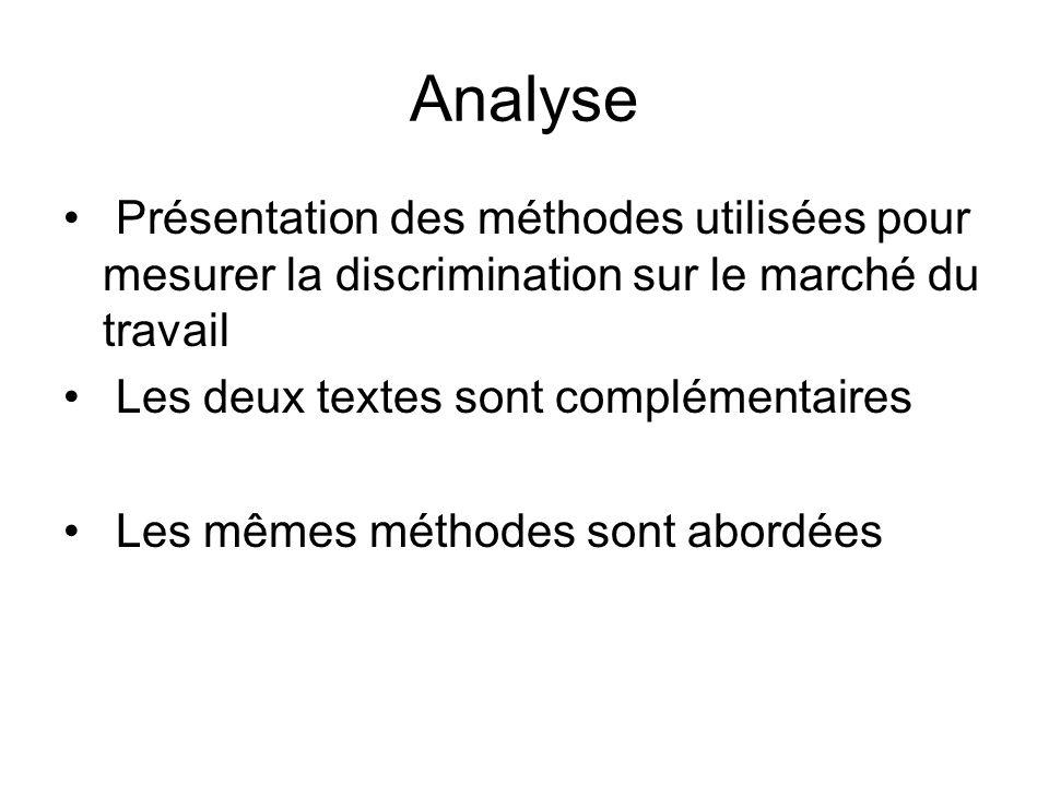 Analyse Présentation des méthodes utilisées pour mesurer la discrimination sur le marché du travail Les deux textes sont complémentaires Les mêmes mét