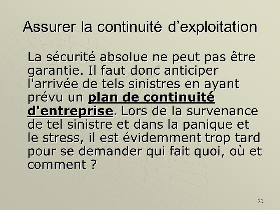 20 Assurer la continuité dexploitation La sécurité absolue ne peut pas être garantie.