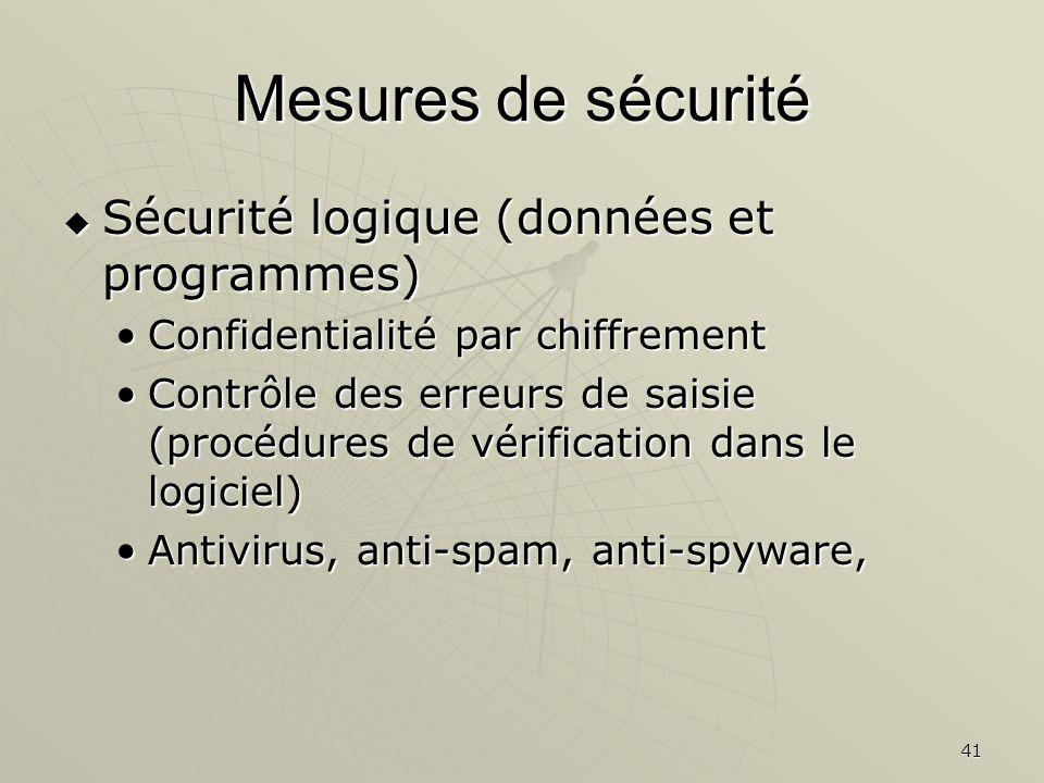 41 Mesures de sécurité Sécurité logique (données et programmes) Sécurité logique (données et programmes) Confidentialité par chiffrementConfidentialité par chiffrement Contrôle des erreurs de saisie (procédures de vérification dans le logiciel)Contrôle des erreurs de saisie (procédures de vérification dans le logiciel) Antivirus, anti-spam, anti-spyware,Antivirus, anti-spam, anti-spyware,
