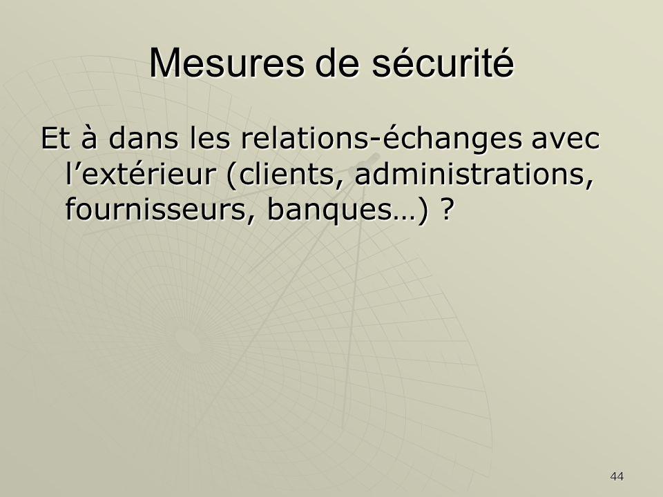 44 Mesures de sécurité Et à dans les relations-échanges avec lextérieur (clients, administrations, fournisseurs, banques…) ?