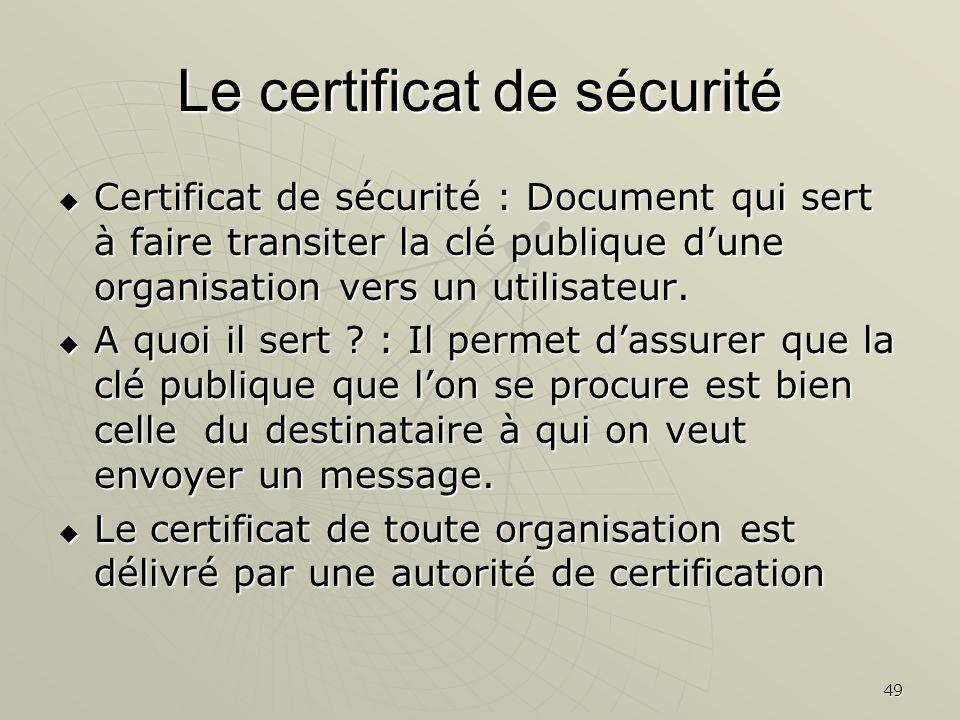 49 Le certificat de sécurité Certificat de sécurité : Document qui sert à faire transiter la clé publique dune organisation vers un utilisateur.