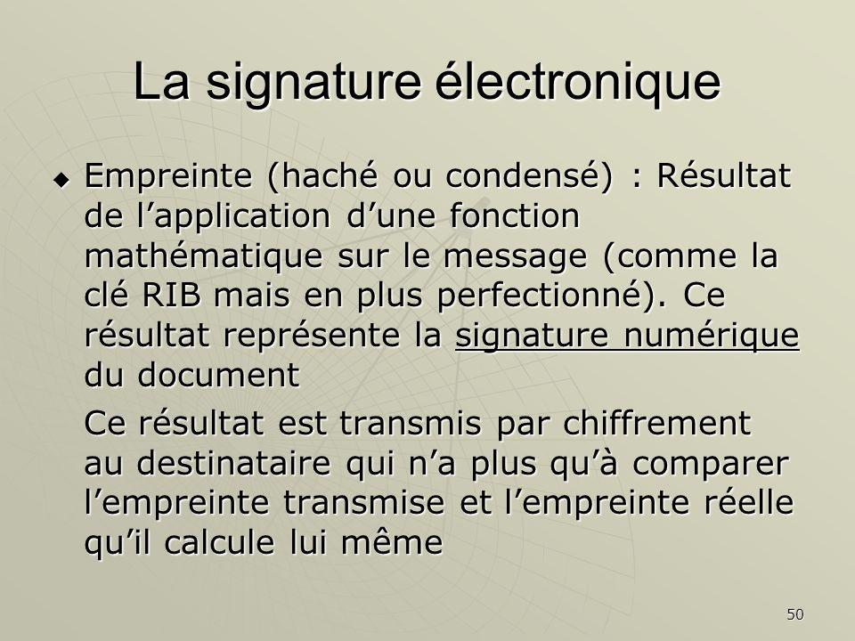 50 La signature électronique Empreinte (haché ou condensé) : Résultat de lapplication dune fonction mathématique sur le message (comme la clé RIB mais en plus perfectionné).