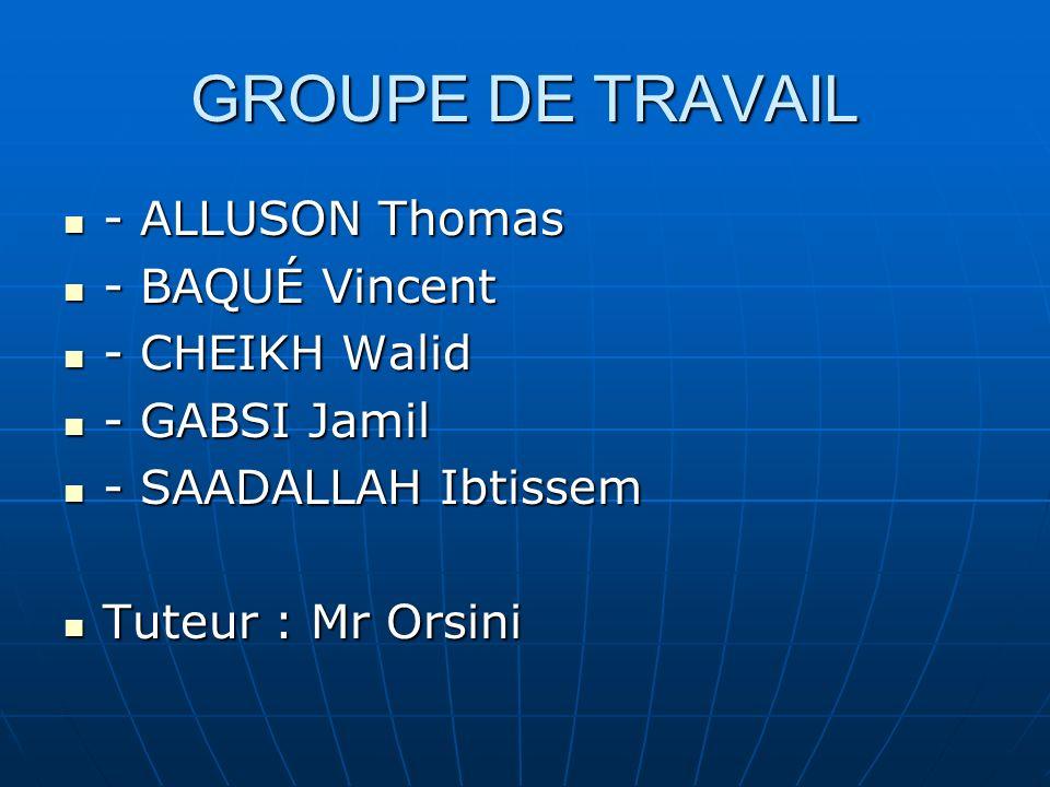 GROUPE DE TRAVAIL - ALLUSON Thomas - ALLUSON Thomas - BAQUÉ Vincent - BAQUÉ Vincent - CHEIKH Walid - CHEIKH Walid - GABSI Jamil - GABSI Jamil - SAADALLAH Ibtissem - SAADALLAH Ibtissem Tuteur : Mr Orsini Tuteur : Mr Orsini