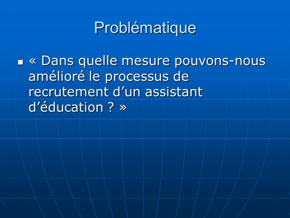 Problématique « Dans quelle mesure pouvons-nous amélioré le processus de recrutement dun assistant déducation .