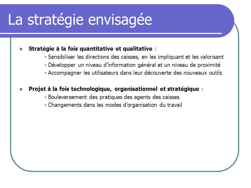 La stratégie envisagée Stratégie à la fois quantitative et qualitative : - Sensibiliser les directions des caisses, en les impliquant et les valorisan
