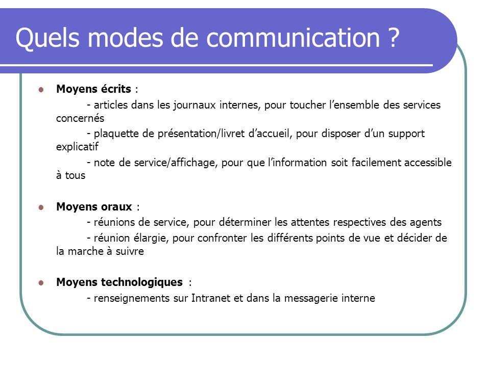 Quels modes de communication ? Moyens écrits : - articles dans les journaux internes, pour toucher lensemble des services concernés - plaquette de pré