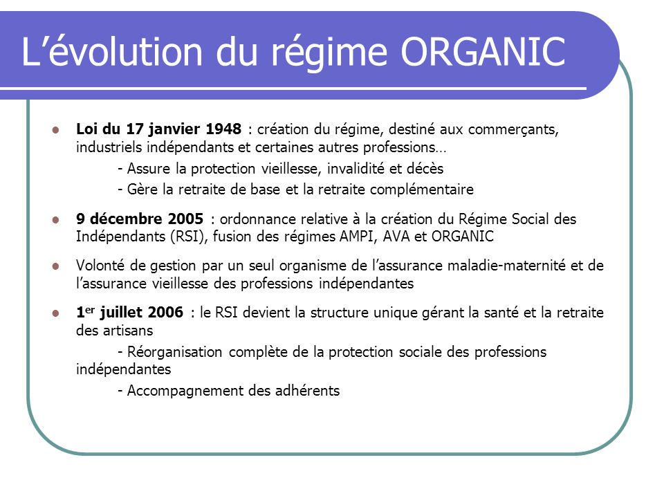 Lévolution du régime ORGANIC Loi du 17 janvier 1948 : création du régime, destiné aux commerçants, industriels indépendants et certaines autres profes