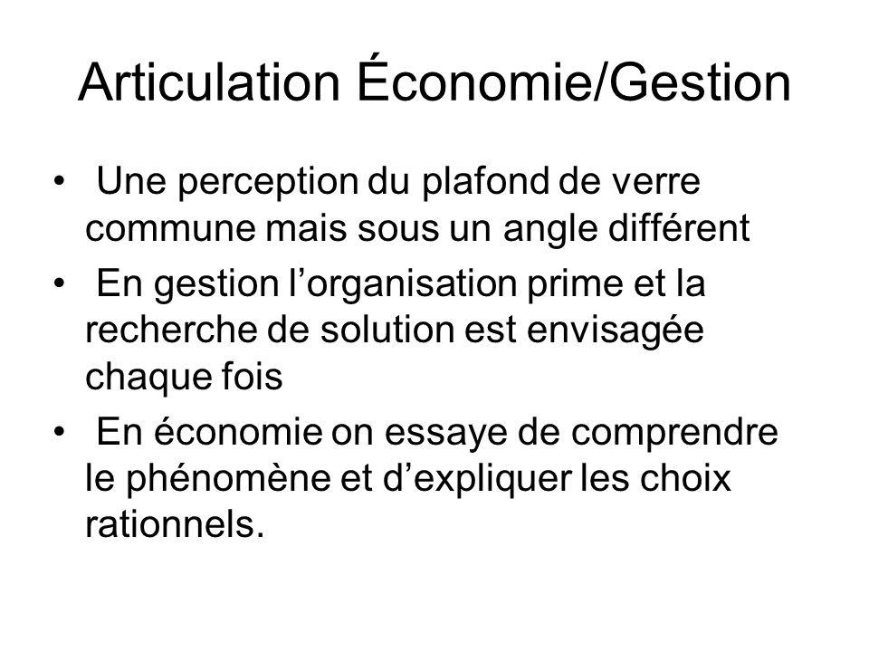 Articulation Économie/Gestion Une perception du plafond de verre commune mais sous un angle différent En gestion lorganisation prime et la recherche d