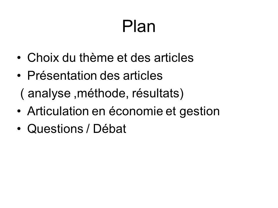 Plan Choix du thème et des articles Présentation des articles ( analyse,méthode, résultats) Articulation en économie et gestion Questions / Débat