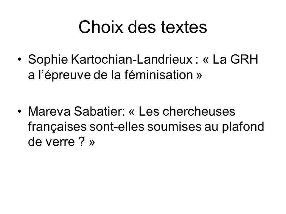Choix des textes Sophie Kartochian-Landrieux : « La GRH a lépreuve de la féminisation » Mareva Sabatier: « Les chercheuses françaises sont-elles soumi