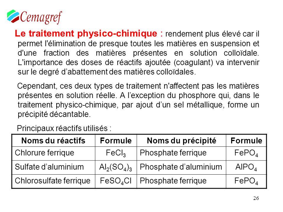 26 Le traitement physico-chimique : rendement plus élevé car il permet l'élimination de presque toutes les matières en suspension et d'une fraction de