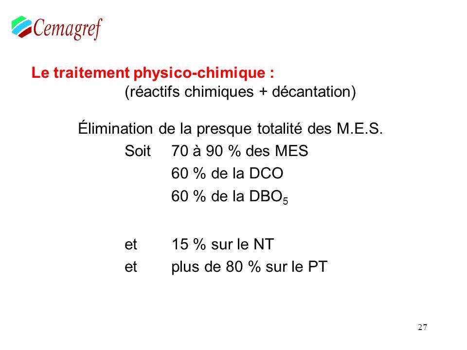 27 Le traitement physico-chimique : (réactifs chimiques + décantation) Élimination de la presque totalité des M.E.S. Soit 70 à 90 % des MES 60 % de la