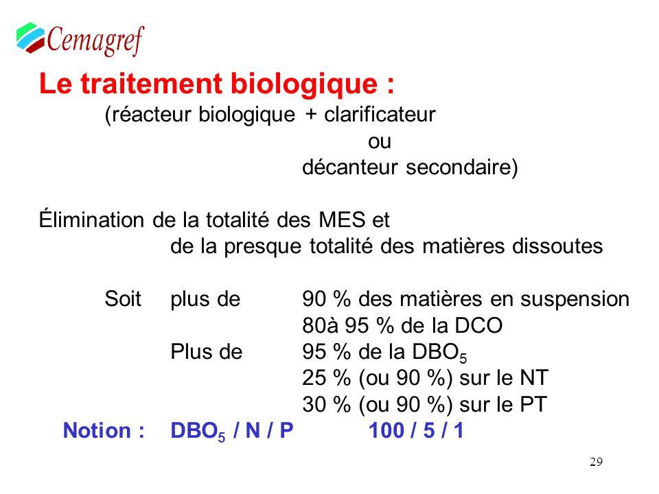 29 Le traitement biologique : (réacteur biologique + clarificateur ou décanteur secondaire) Élimination de la totalité des MES et de la presque totali