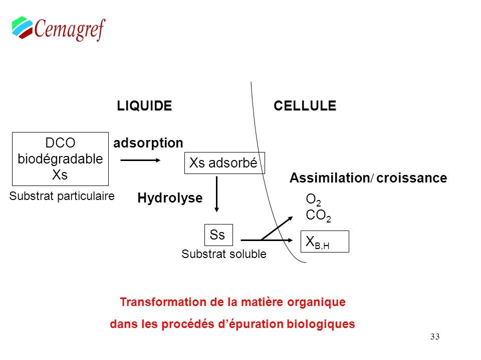 33 DCO biodégradable Xs LIQUIDE adsorption Hydrolyse Xs adsorbé Ss O 2 CO 2 X B,H CELLULE Assimilation / croissance Transformation de la matière organ