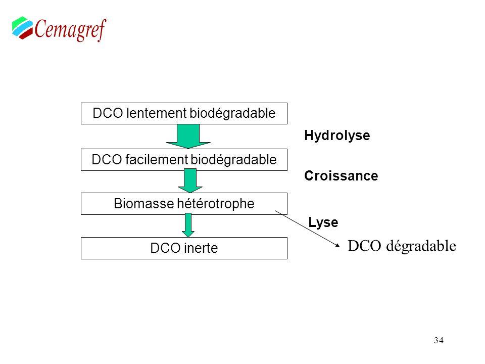 34 Hydrolyse Croissance DCO lentement biodégradable DCO facilement biodégradable Biomasse hétérotrophe DCO inerte Lyse DCO dégradable