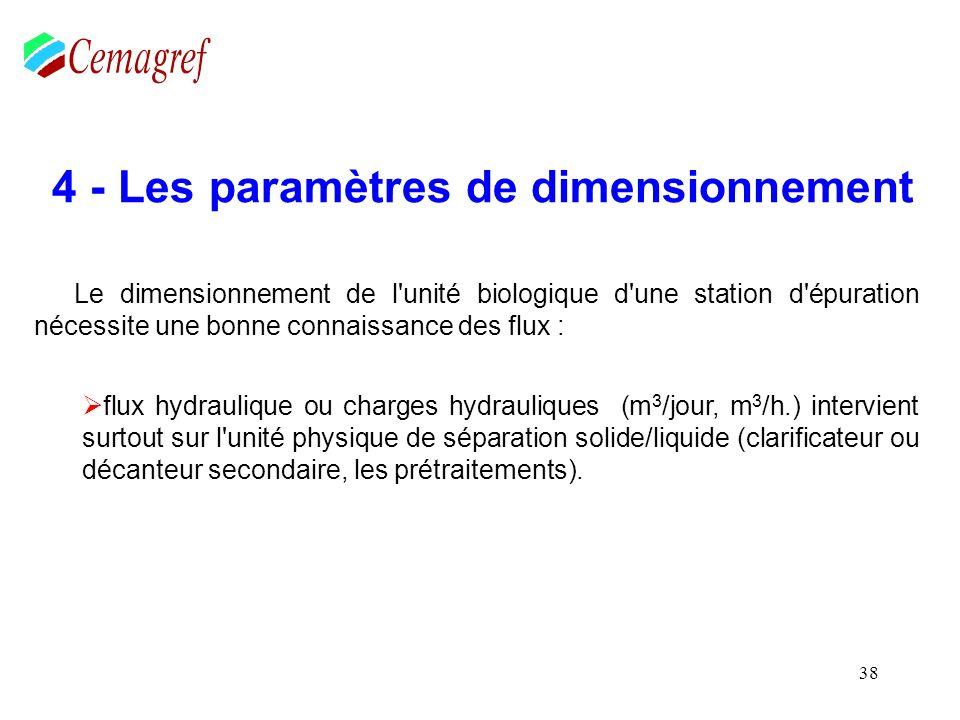 38 4 - Les paramètres de dimensionnement Le dimensionnement de l'unité biologique d'une station d'épuration nécessite une bonne connaissance des flux