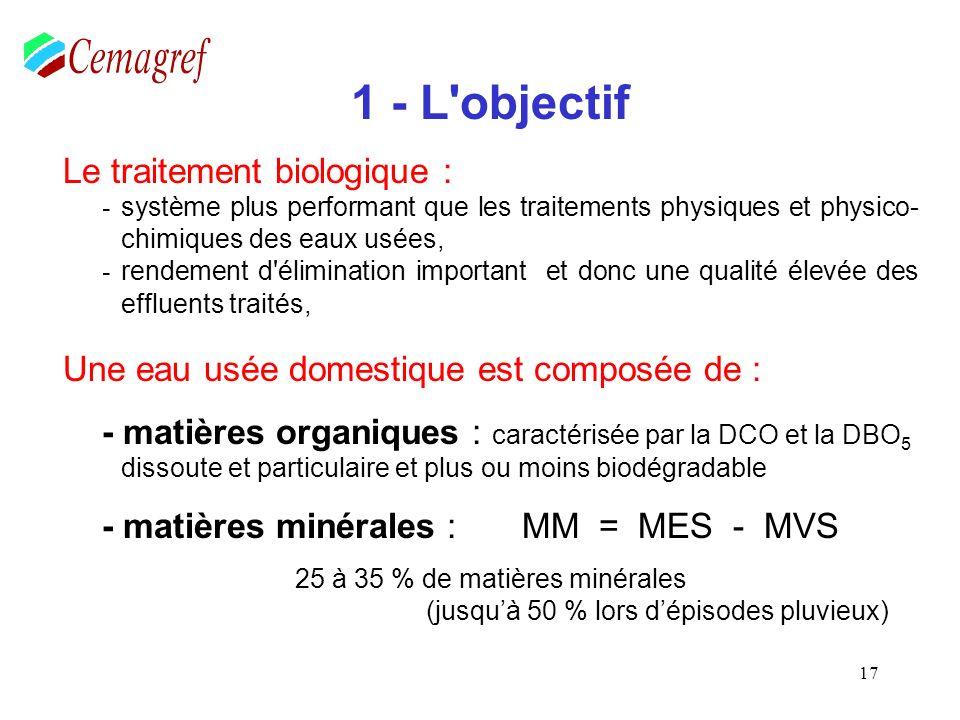 58 Démonstration : - Pour lâge de boue : Quantité de boues dans la station (kg MS ou de MES) Age des boues = Quantité de boues produites par jour (kg MS ou de MES /jour) Volume du réacteur x [ MVS] Age des boues = Volume dentrée (Qe) x [DBO 5 ] x Psb On sait que la Cm = Volume dentrée (Qe) x [DBO 5 ] / Volume du réacteur x [MVS] Donc 1 Age de boues = Cm x P SB (attention aux unités) Relation inverse de la Cm Sur la base dune production spécifique de : 0,7 kg de MES/ kg de DBO5 éliminée ou 0,5 kg de MVS/ kg de DBO5 éliminée.