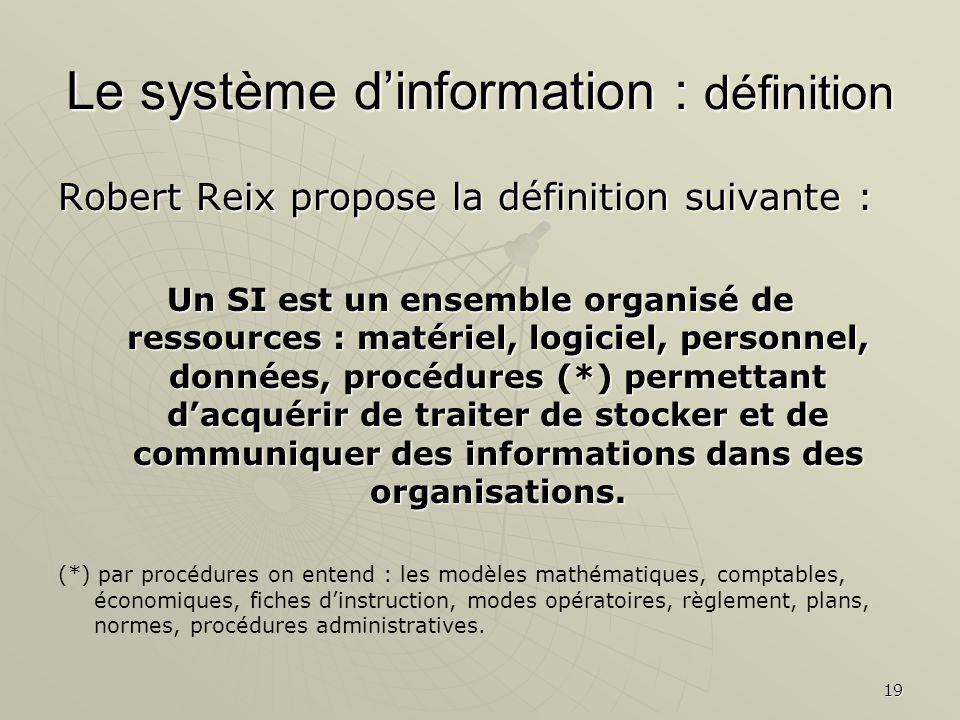 19 Le système dinformation : définition Robert Reix propose la définition suivante : Un SI est un ensemble organisé de ressources : matériel, logiciel