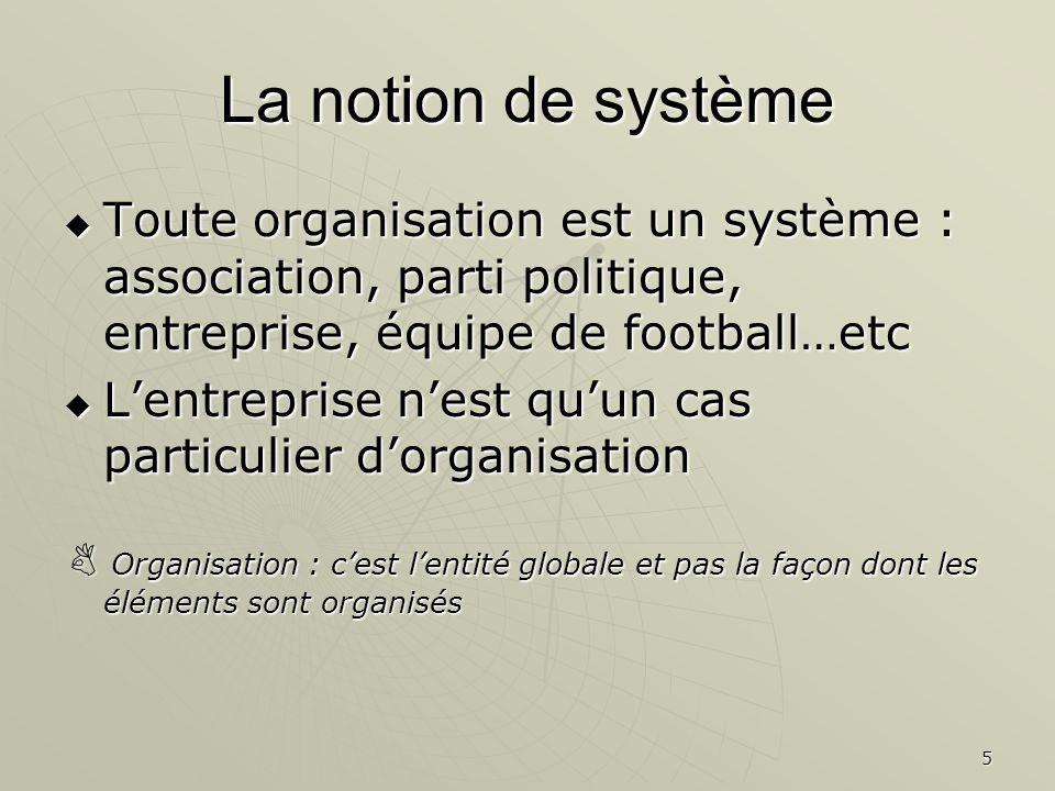 5 La notion de système Toute organisation est un système : association, parti politique, entreprise, équipe de football…etc Toute organisation est un