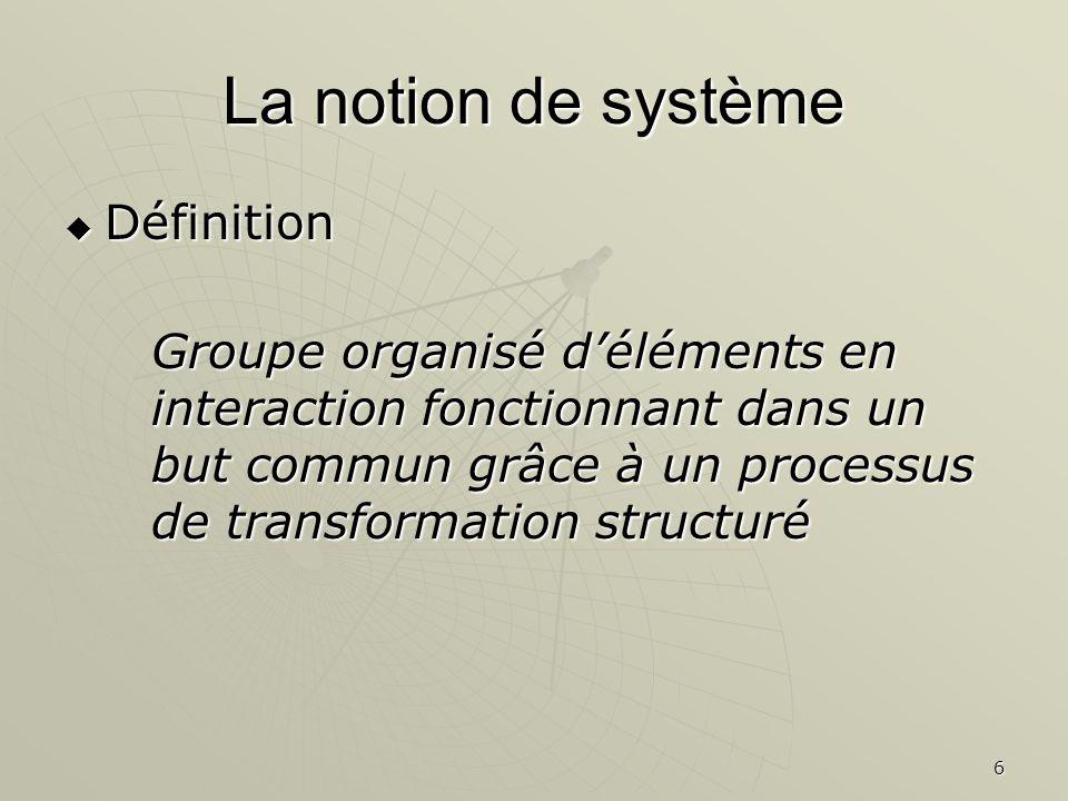6 La notion de système Définition Définition Groupe organisé déléments en interaction fonctionnant dans un but commun grâce à un processus de transfor