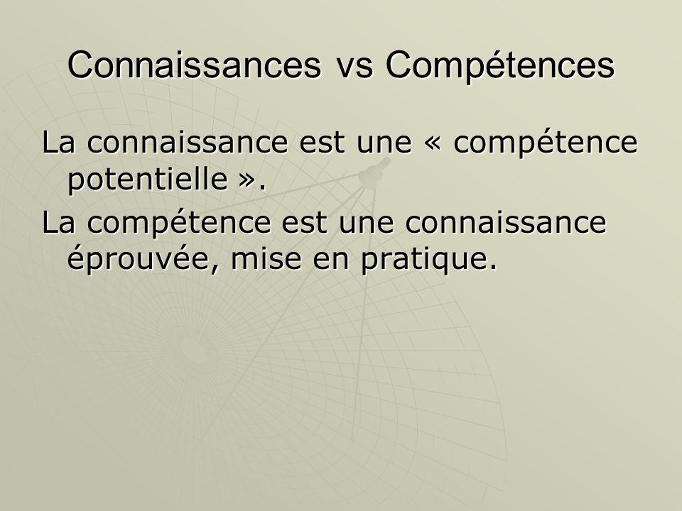 Connaissances vs Compétences La connaissance est une « compétence potentielle ». La compétence est une connaissance éprouvée, mise en pratique.