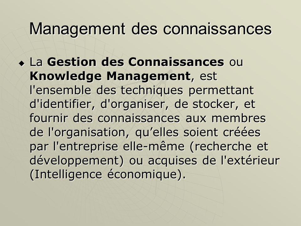 Management des connaissances La Gestion des Connaissances ou Knowledge Management, est l'ensemble des techniques permettant d'identifier, d'organiser,