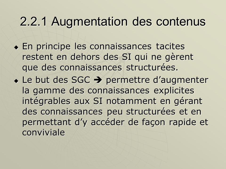 2.2.1 Augmentation des contenus En principe les connaissances tacites restent en dehors des SI qui ne gèrent que des connaissances structurées. En pri