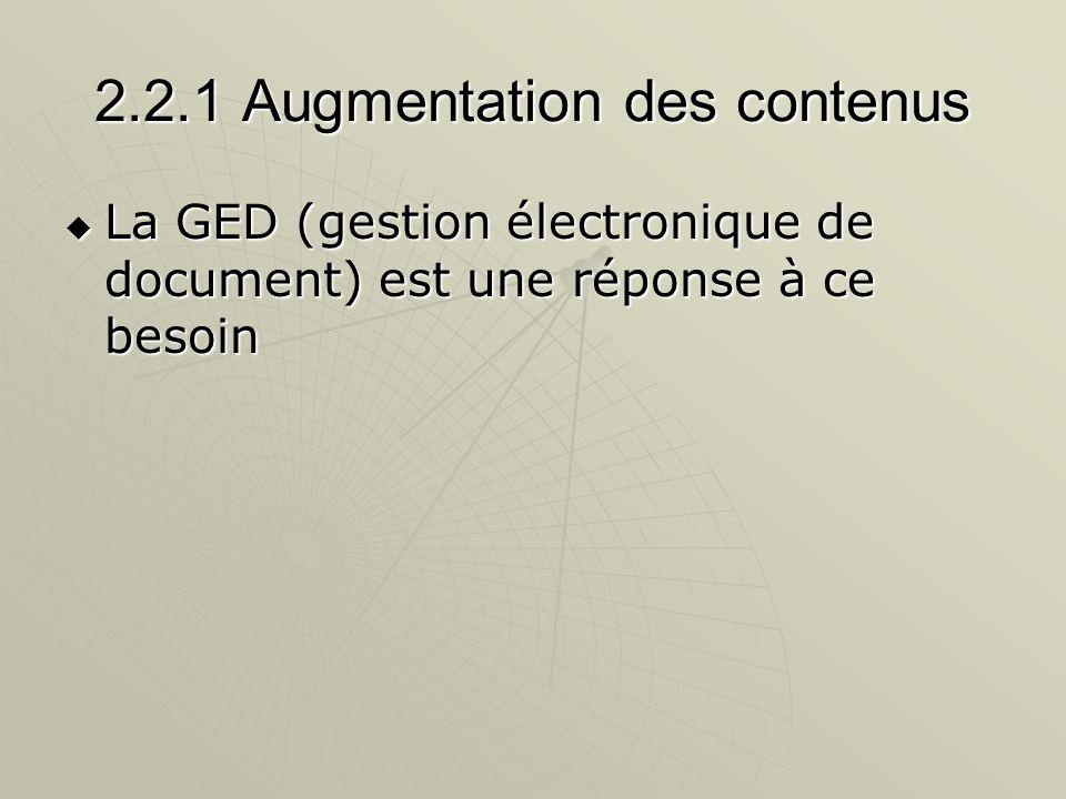 2.2.1 Augmentation des contenus La GED (gestion électronique de document) est une réponse à ce besoin La GED (gestion électronique de document) est un
