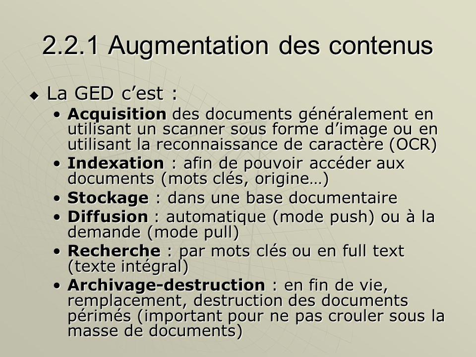 2.2.1 Augmentation des contenus La GED cest : La GED cest : Acquisition des documents généralement en utilisant un scanner sous forme dimage ou en uti