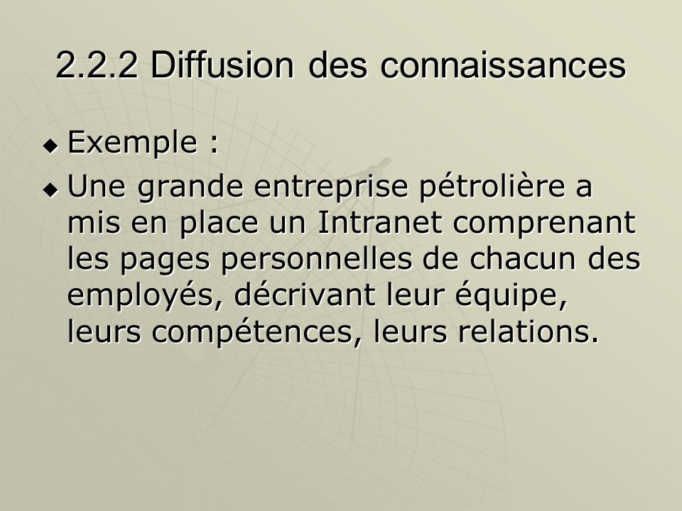 2.2.2 Diffusion des connaissances Exemple : Exemple : Une grande entreprise pétrolière a mis en place un Intranet comprenant les pages personnelles de
