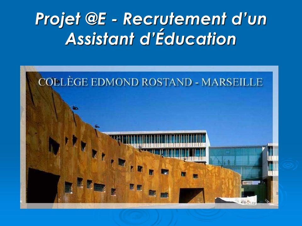 Projet @E - Recrutement dun Assistant dÉducation