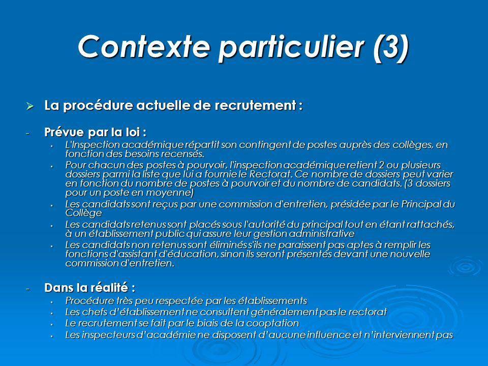 Contexte particulier (3) La procédure actuelle de recrutement : La procédure actuelle de recrutement : - Prévue par la loi : L'Inspection académique r