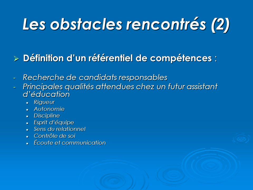 Les obstacles rencontrés (2) Définition dun référentiel de compétences : Définition dun référentiel de compétences : - Recherche de candidats responsa