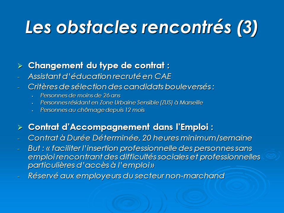 Les obstacles rencontrés (3) Changement du type de contrat : Changement du type de contrat : - Assistant déducation recruté en CAE - Critères de sélec