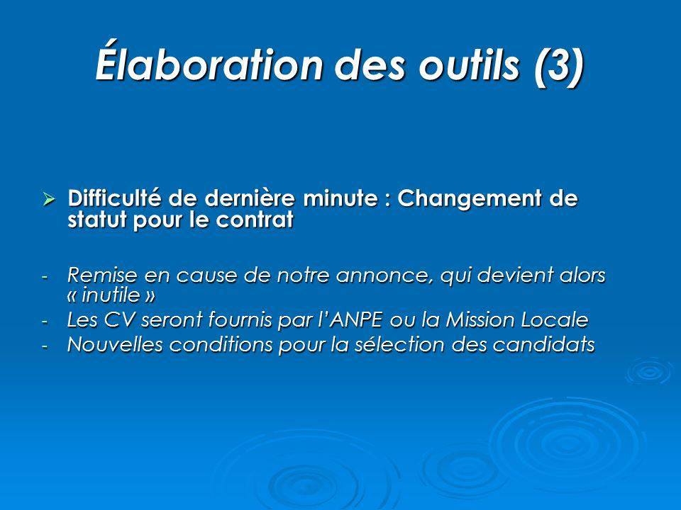 Élaboration des outils (3) Difficulté de dernière minute : Changement de statut pour le contrat Difficulté de dernière minute : Changement de statut p