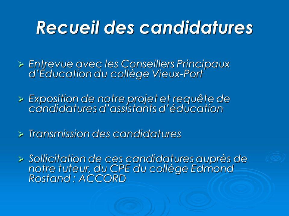 Recueil des candidatures Entrevue avec les Conseillers Principaux dÉducation du collège Vieux-Port Entrevue avec les Conseillers Principaux dÉducation
